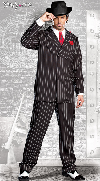 Mens Gangsta Costume, Male Mobster Costume