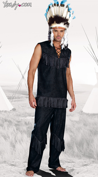 Chief Wansum Tail Costume, Indian Chief Costume, Mens Native American Costume