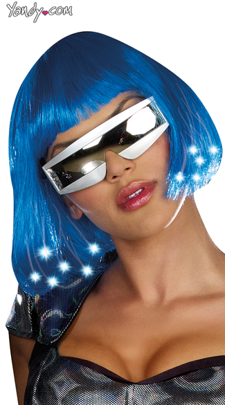 Light Up Blue Wig Costume, Blue Bobbed Wig, Light Up Wig