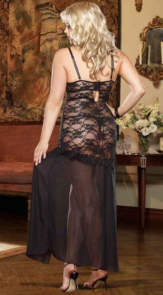 Plus Size Lace and Chiffon Gown