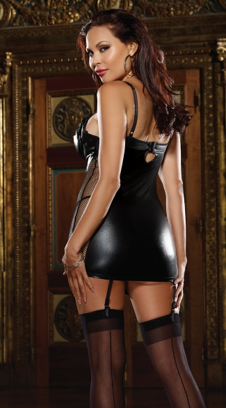 Plus Size Faux Leather and Fishnet Garter Slip