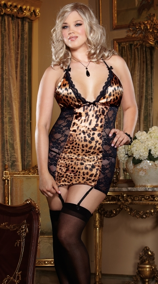 Plus Size Leopard Print Satin and Lace Garter Slip, Plus Size Leopard Print Satin and Black Lace Chemise, Plus Size Satin and Lace Chemise