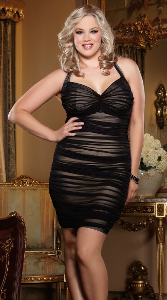 Plus Size Double Layered Mesh Illusion Dress, Plus Size Ruched Mesh Dress, Plus Size Black Ruched Halter Dress