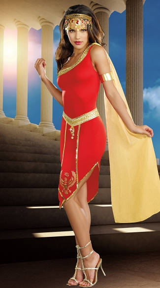 Queen Of De Nile Costume, Red Cleopatra Costume, Adult Cleo Costume