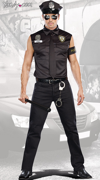 Dirty Cop Officer Ed Banger Costume, Mens Cop Costume, Sleeveless Cop Costume