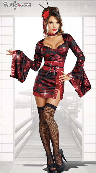 The Geisha With The Dragon Tattoo Costume Dragon Print Costume, Dragon Geisha Costume, Black and Red Geisha Costume