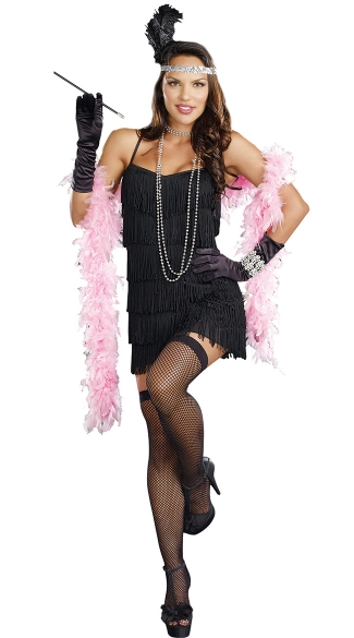 Flapper Dress, Black Fringe Dress, Flapper Style Dress, Black Fringe Mini Dress