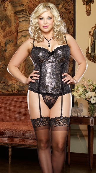 Plus Size Sparkle Kitty Sequin Bustier and Thong