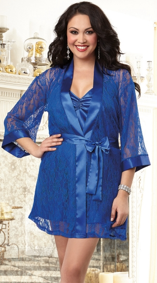 Lace and Satin Chemise Robe with Matching Slip
