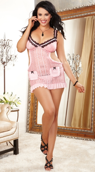 Plus Size Romantic Apron Babydoll And Heart Panty