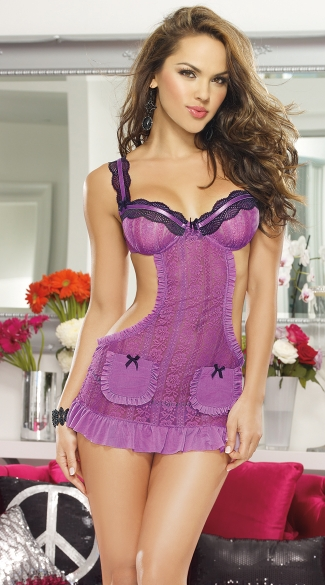 Romantic Passion Apron Chemise And Heart Panty