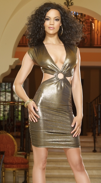 Gold Rush Cut Out Club Dress Metallic Gold Dress Gold