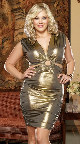 Plus Size Gold Rush Cut Out Club Dress, Plus Size Gold Club Dress