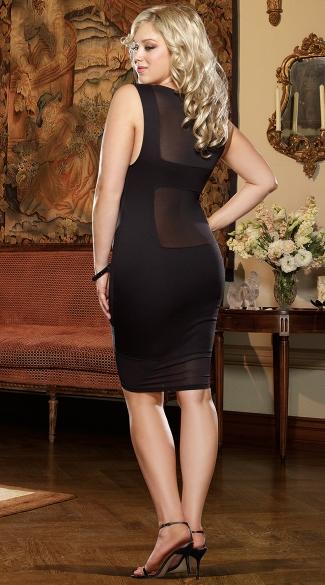 Plus Size Gin and Sin Illusion Club Dress, Plus Size Illusion Netting ...