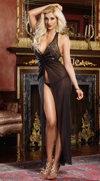 Mystic Gown And G-String, Long Black Lingerie Gown