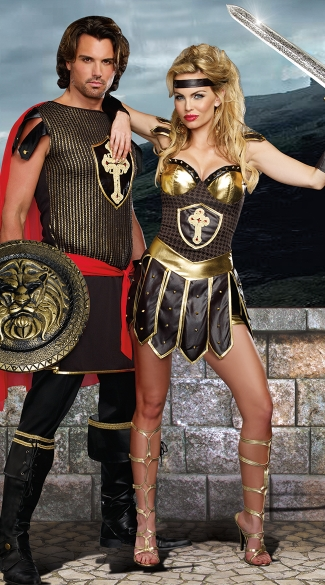 Coliseum Gladiators Couples Costume, Men\'s Gladiator Warrior Costume, Men\'s Roman Soldier Costume, Queen Of Swords Warrior Costume, Sexy Gladiator Costume, Sexy Warrior Costume