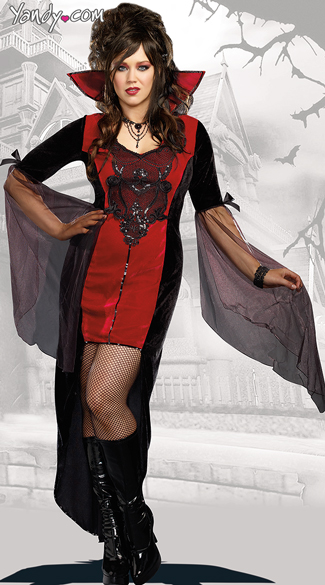 Plus Size Killing Me Softly Vampire Costume, Plus Size Female Vampire Halloween Costume