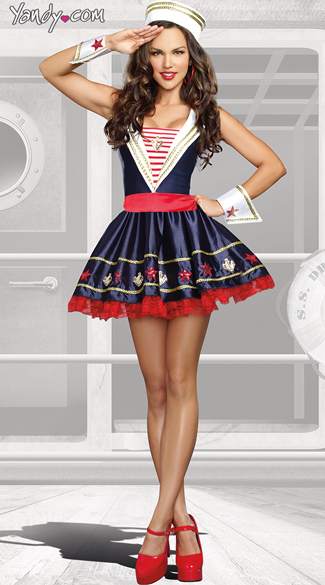 Shore Thing Costume, Adult Sailor Costume, Pin Up Sailor Costume