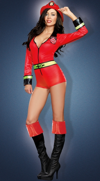 Fire Fighter Romper Costume, Firefighter Woman Costume, Sexy Firefighter Costume