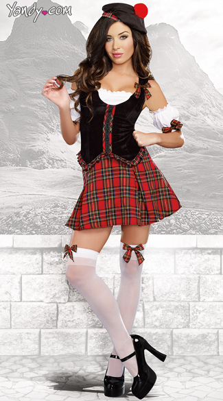 Kilted Scottie Hottie Costume, Irish Kilt Costume, Womens Kilt Costume