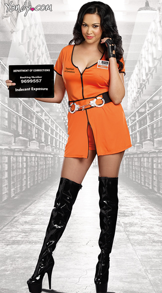 Plus Size Sexy Inmate Costume, Plus Size Sexy Criminal Costume, Plus Size Orange Inmate Dress Costume