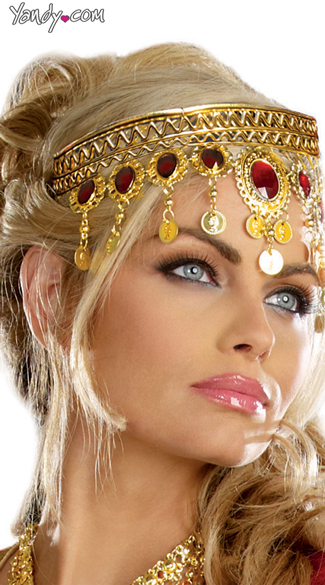 Bedazzling Ruby and Gold Coin Crown, Nefertiti Costume, Princess Costumes For Adults