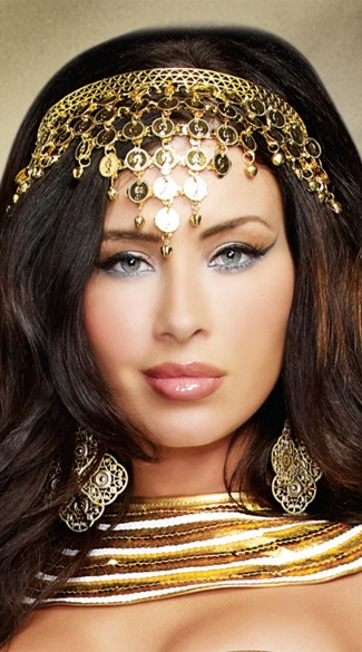 Gold Coin Crown, Egyptian Headband, Greek Goddess Headpiece