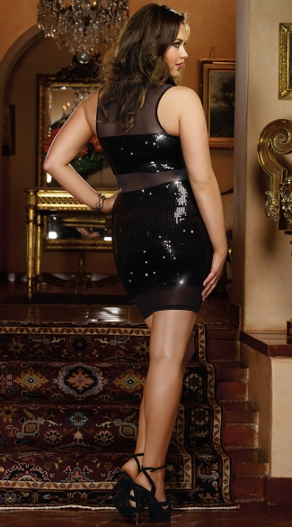 Plus Size Midnight Mistress Sequin Mini Dress
