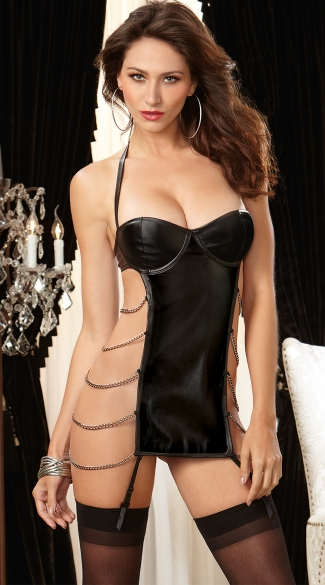 Chained Seduction Faux Leather Garter Slip, Halter Chemise Slip with Garters, Sexy Chain Chemise