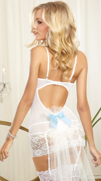 Bridal Garter Chemise with Attached Veil