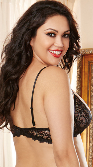 Plus Size Black Lace Open Cup Shelf Bra