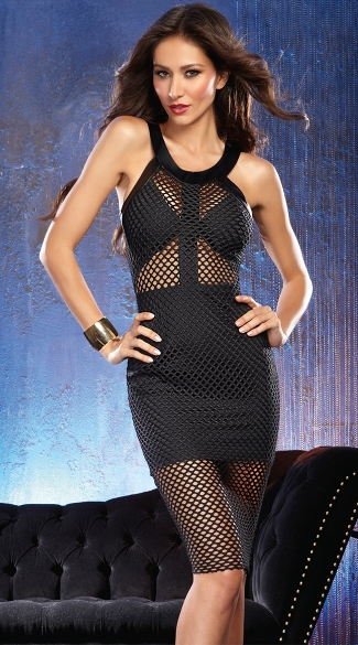 Foxy in Fishnet Black Club Dress