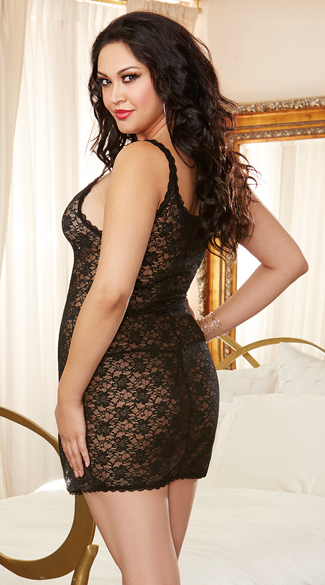 Plus Size Sheer Lace Chemise and Panty