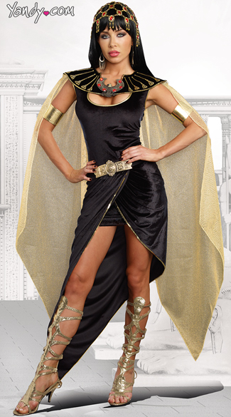 Cleo Costume, Egyptian Queen Costume, Black and Gold Cleo Costume