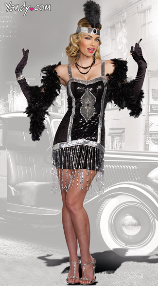 Simply Fab Flapper Costume, Black and Silver Flapper Costume, Sexy Jazz Girl Costume