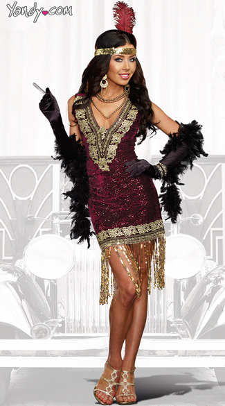 Sophisticated Lady Flapper Costume, Sexy Jazz Girl costume, Burgundy Flapper costume
