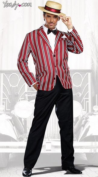 Good Times Charlie Costume, Dapper Gentleman Costume, Striped Dapper Jacket Costume