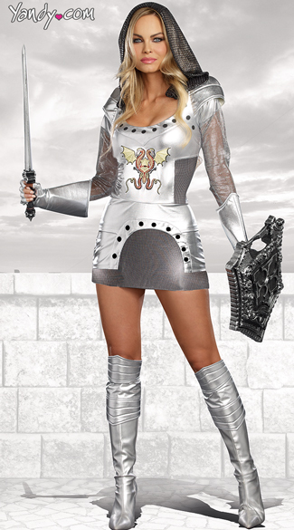Sexy Metallic Knight Costume, Knight Time Costume, Sexy Knight in Shining Armor Costume, Flirty Silver Knight Costume