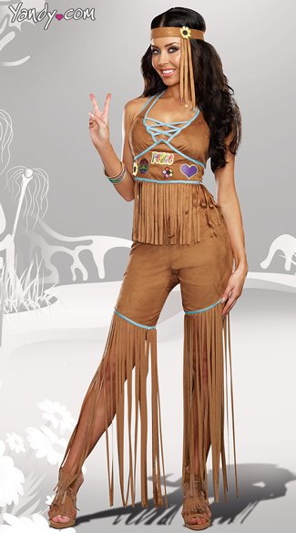Peace Out Hippie Costume, Sexy Fringe Hippie Costume, Faux Brown Leather Hippie Costume