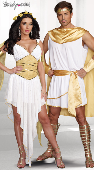 Goddess Of Delight Costume, Beautiful Gold Greek Goddess Costume, Sexy Gold and White Goddess Costume, Hes A God Costume, Male God Costume, Greek God Costume