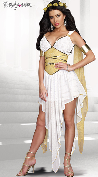 Goddess Of Delight Costume, Beautiful Gold Greek Goddess Costume, Sexy Gold and White Goddess Costume