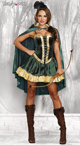 Sexy Robin Hood Costume, Sexy Sherwood Warrior Costume, Green and Gold Sexy Robin Hood Costume