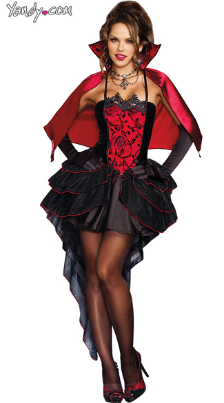 To Die For Vampire Costume, Sexy Corset Vamp Costume, Gorgeous Black and Red Vamp Costume