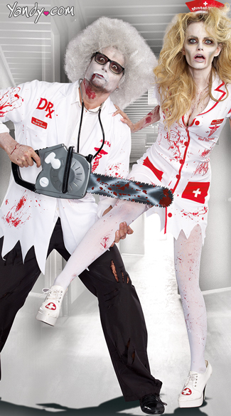 Dr. Hugh B. Dead Zombie Costume, Zombie Doctor Costume, Men\'s Doctor Costumes, Norma Lee Crazy Zombie Nurse Costume, Zombie Nurse Costumes, Bloody Nurse Costumes