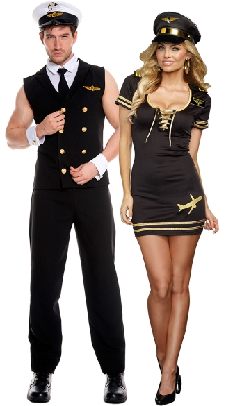 Naughty Mile High Club Couples Costume, Sexy Stewardess Costume, Sexy Pilot Costume, Sexy Flight Attendant Costume, Men\'s Sexy Sleeveless Pilot Costume, Airplane Pilot Costume, Airline Pilot Uniform