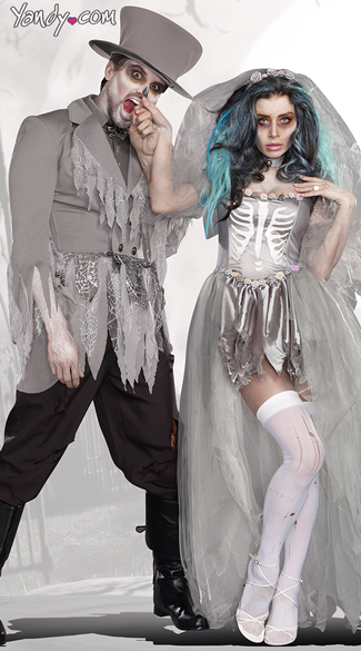 Groom Of Doom Costume, Zombie Groom Costumes, Ghostly Groom Costume, Bride Of Doom Costume, Zombie Bride Costumes, Ghost Bride Costumes