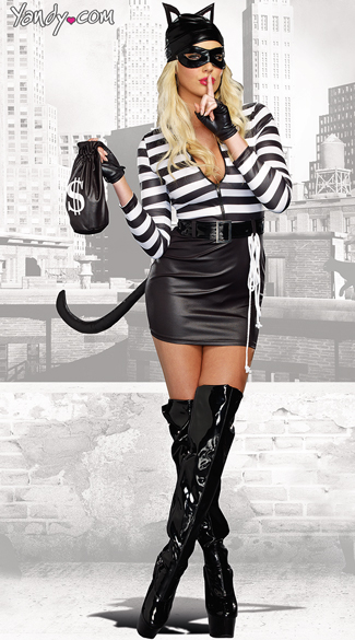 Sexy Cat Burglar Costume , Black and White Cat Costume, Striped Cat Costume