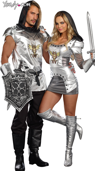 Men\'s Knight Time Costume, Mens Knight Costume, Silver Knight Costume, Sexy Metallic Knight Costume, Knight Time Costume, Sexy Knight in Shining Armor Costume, Flirty Silver Knight Costume