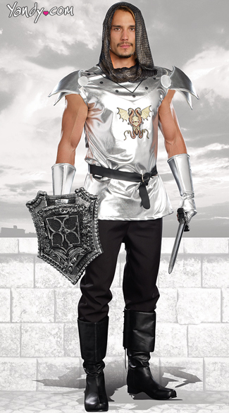 Men\'s Knight Time Costume, Mens Knight Costume, Silver Knight Costume