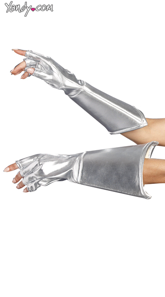 Silver Fingerless Gauntlets Gloves, Silver Gloves, Metallic Gloves